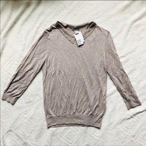 NWT H&M Beaded Collar Sweater
